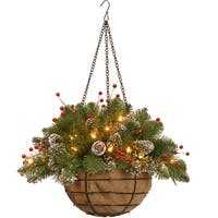 20-inch Glittery Mountain Spruce Hanging Basket with Red Berries