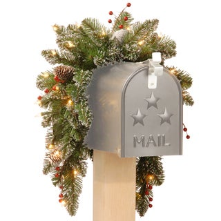 3-foot Glittery Mountain Spruce Mailbox Swag with Frosted Cones and Red Berries