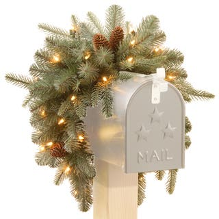 3-foot Frosted Arctic Spruce Mailbox Swag with Cones|https://ak1.ostkcdn.com/images/products/9630109/P16815577.jpg?impolicy=medium