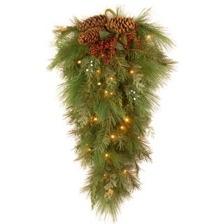 28-inch White Pine Wall Teardrop Holiday Decoration