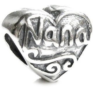 Queenberry .925 Sterling Silver 'Nana Heart' European Charm