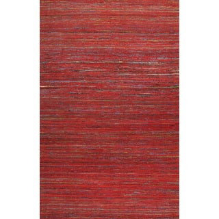 Handmade Textured Sari Silk Red Area Rug (2' x 3')