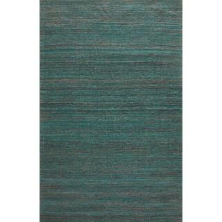 Handmade Textured Sari Silk Green Area Rug (2' x 3')