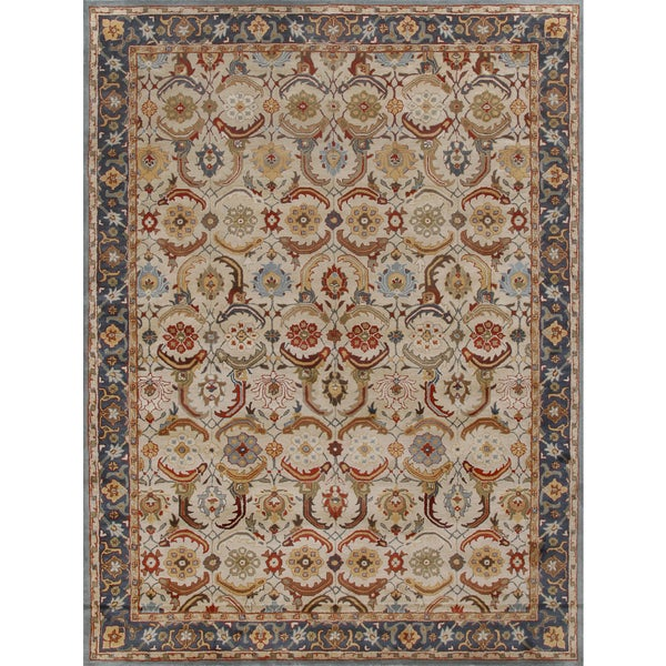 Eva Persian Blue Beige Wool Area Rug 8 X27 X