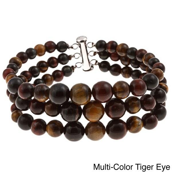 Pearlz Ocean Tiger Eye Triple Strand Journey Bracelet (Mu...