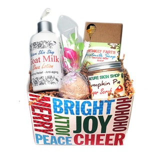 Handmade Jolly Merry Gift Set (Goat Body Lotion, Monkey Farts Soap, Pumpkin Pie Scrub and Bubble Bath Truffle