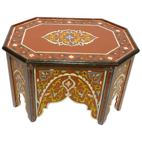 Handmade Multicolored Wood Coffee Table (Morocco)