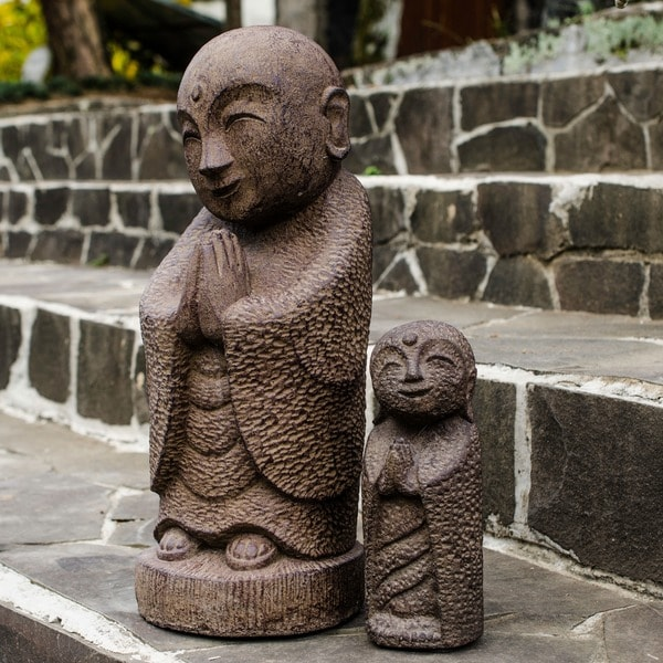 Namaste Jizo Buddha Antique Brown Statue (Indonesia)