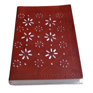 Sitara Handmade Brown Cut Work Leather Journal (India)