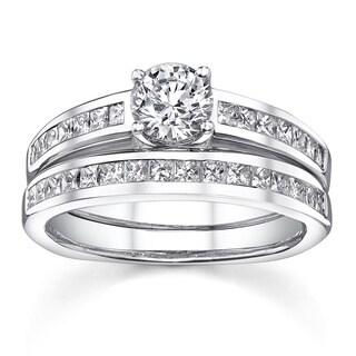 18k White Gold 1 1/3ct TDW Channel-set Certified Diamond Bridal Ring Set
