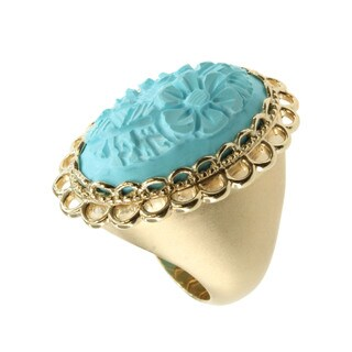Dallas Prince Yellow Gold Over Silver Turquoise 'Flower' Ring