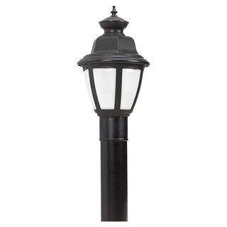 Sea Gull Lighting Belmar Black One Light Outdoor Post Top Light with White Lens