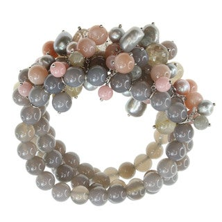 Dallas Prince Sterling Silver Smokey Quartz and Multi Gemstone Stretch Bracelet