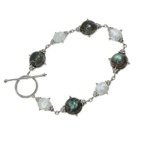 Dallas Prince Sterling Silver Labradorite and Rainbow Moonstone Toggle Bracelet