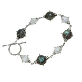 Dallas Prince Sterling Silver Labradorite and Rainbow Moonstone Toggle Bracelet