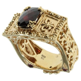 Dallas Prince Yellow Gold Over Silver Garnet Ring