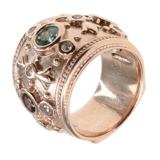 Dallas Prince Rose Gold Over Silver Blue Zircon, Mocha Zircon and White Zircon Ring
