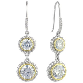 Sunstone Sterling Silver Two-Tone Cubic Zirconia Round Dangle Earrings