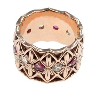 Dallas Prince Rose Gold over Silver Ruby and White Sapphire Ring