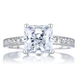 Sterling Silver Clear Princess-cut Promise Ring