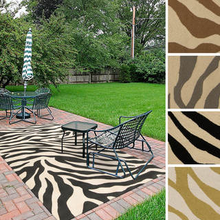 Hand-Hooked Adele Zebra Indoor/Outdoor Polypropylene Rug (3' x 5')