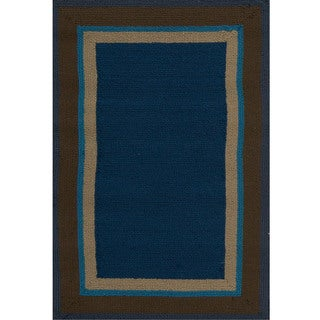 Hand-Hooked Gillian Bordered Indoor/Outdoor Polypropylene Rug (9' x 12')