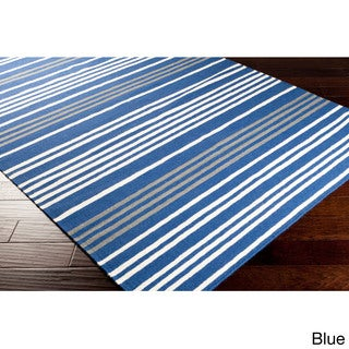Hand-woven Auch Flatweave Striped Wool Area Rug