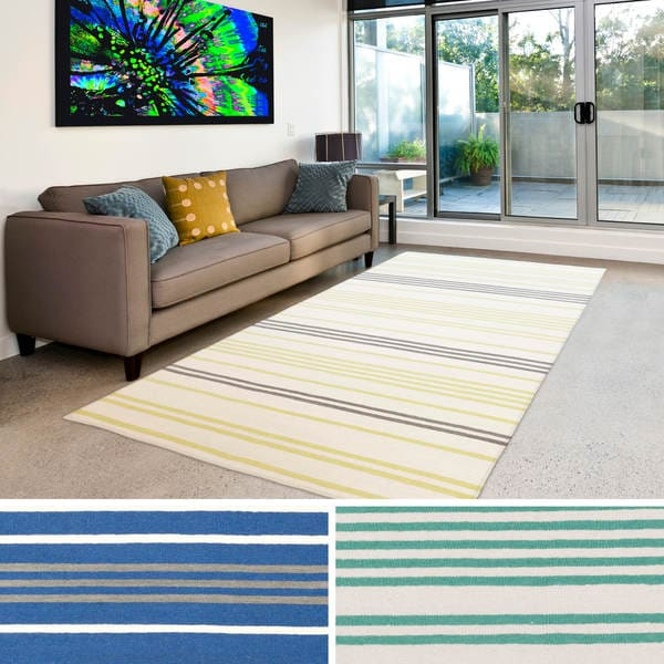 Hand-woven Millau Flatweave Striped Wool Rug (5' x 8')