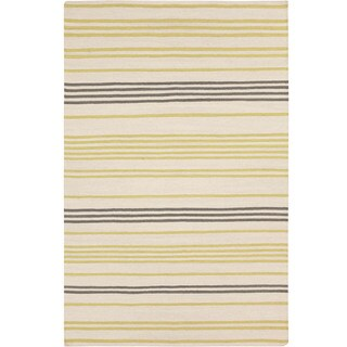 Hand-woven Salford Flatweave Striped Wool Area Rug (8 x 11 - Lime)