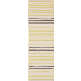 Hand-woven Concord Flatweave Striped Wool Area Rug (26 x 8 - Lime)