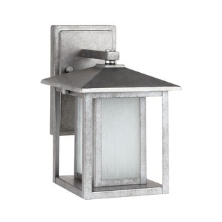 Sea Gull Lighting Hunnington One Light Weathered Pewter Outdoor Wall Lantern with Seeded Etched Glass
