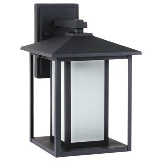 Sea Gull Lighting Hunnington Large One Light Outdoor Wall Lantern with Seeded Etched Glass
