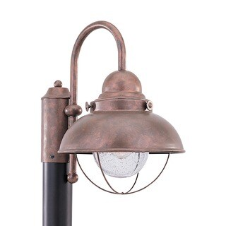 Sea Gull Lighting Sebring One Light Weathered Copper Post Wire Lantern