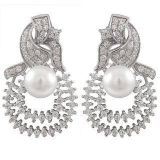 Luxiro Sterling Silver Cubic Zirconia and Freshwater Pearl Double Teardrop Filigree Omega Earrings (7-8 mm)