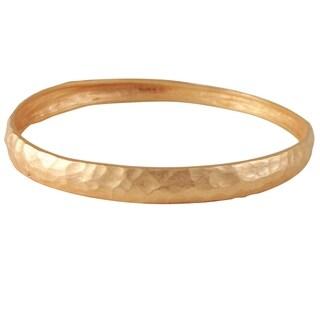 Luxiro Matte Rose Gold Finish 7 mm Wide Hammered Endless Bangle Bracelet