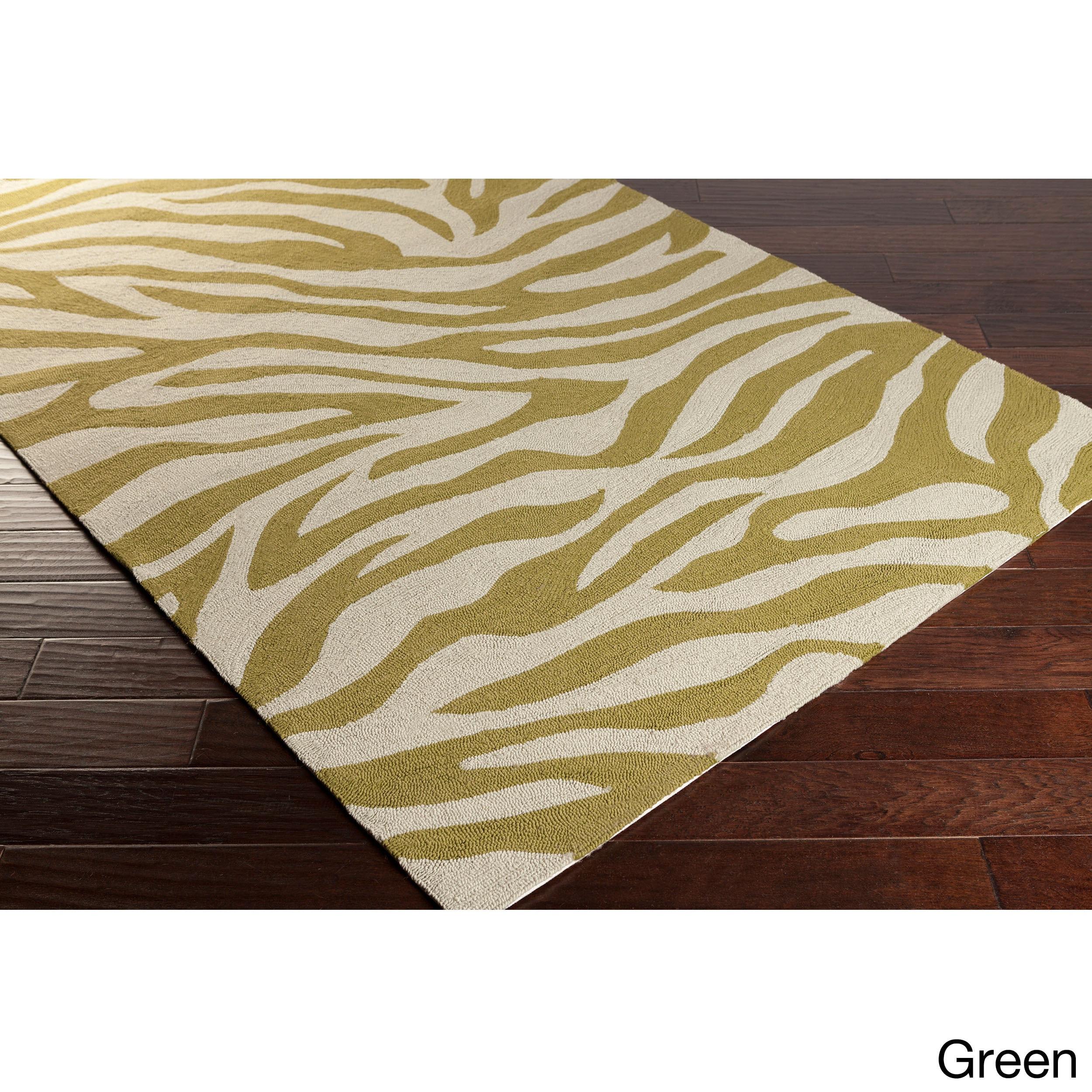 SURYA Hand-Hooked Adele Zebra Indoor/Outdoor Polypropylen...