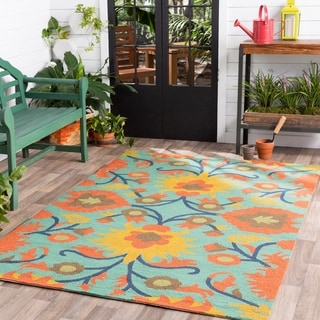 Hand-Hooked Jacklyn Floral Indoor/Outdoor Polypropylene Rug (9' x 12')