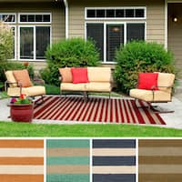 Hand-Hooked Alana Striped Indoor/Outdoor Area Rug