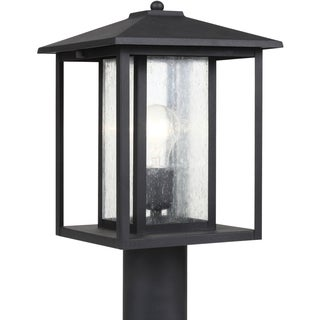 Sea Gull Lighting Hunnington Black One Light Outdoor Post Lantern with Clear Glass
