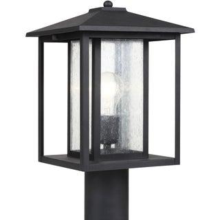 Sea Gull Lighting Hunnington Black One Light Outdoor Post Lantern with Clear Glass