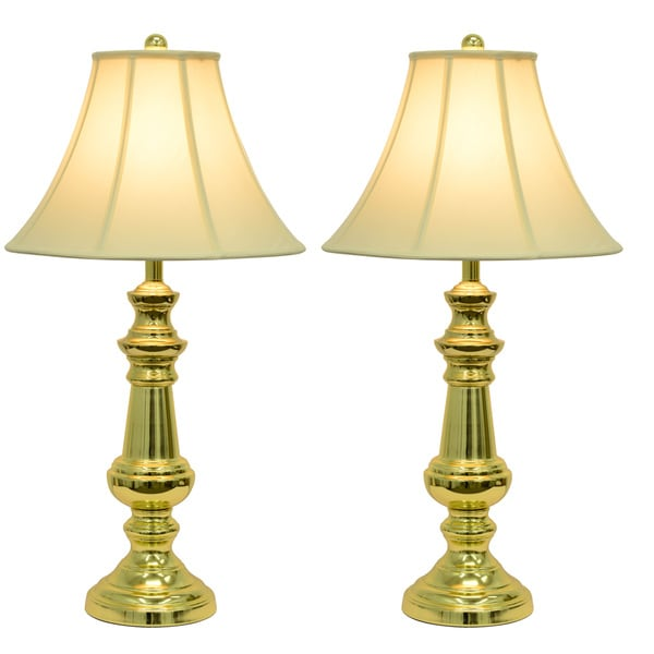 Shop Copper Grove Hersey Polished Brass Table Lamps Free Shipping