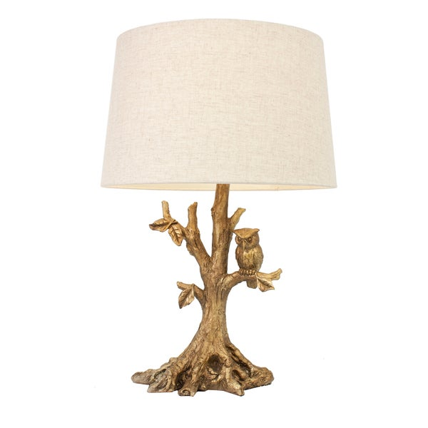 Shop Textured Gold Leaf Owl Lamp On Sale Free Shipping