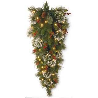 4-foot Wintry Pine Tear Drop Swag with 70 Clear Lights