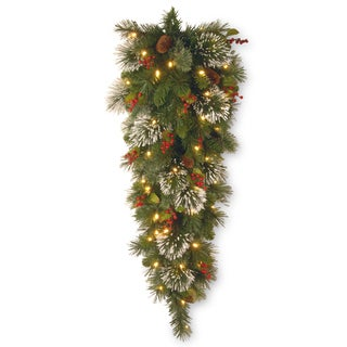 4-foot Wintry Pine Tear Drop Swag with 50 Soft White Lights