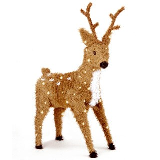 36-inch Creative Images Brown Standing Reindeer with 150 Clear Lights