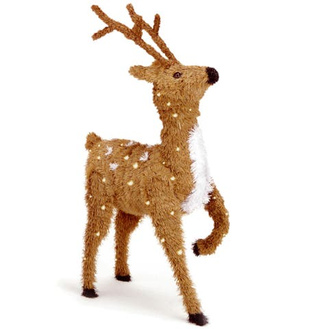 36-inch Creative Images Brown Prancing Reindeer with 150 Clear Lights