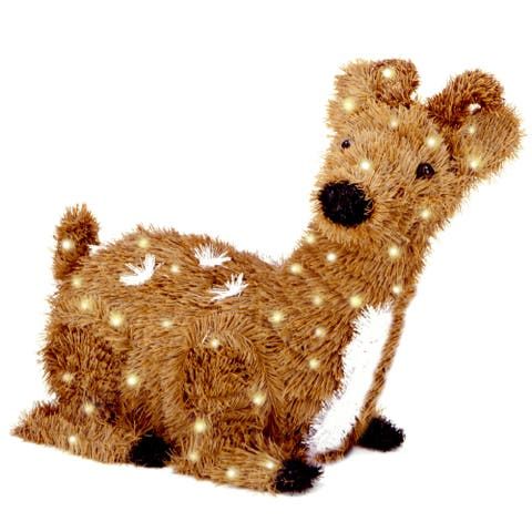 24-inch Creative Images Brown Resting Reindeer with 100 Clear Lights