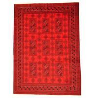 Handmade Herat Oriental Afghan Tribal Balouchi Red/ Black Rug  - 6'9 x 9'4 (Afghanistan)