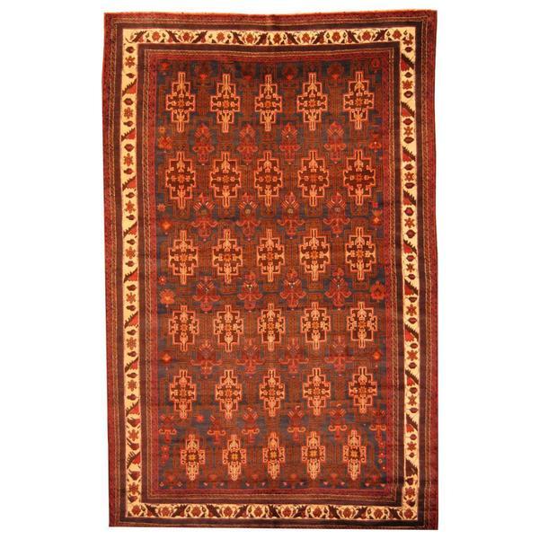 Handmade Herat Oriental Afghan Tribal Balouchi Blue/ Brown Rug - 7'4 x 11'7 (Afghanistan)