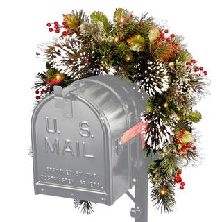 3-foot Wintry Pine Collection Mailbox Swag with 15 Soft White LED Lights